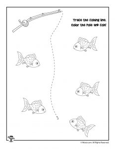 Fishing Trace and Color Worksheet