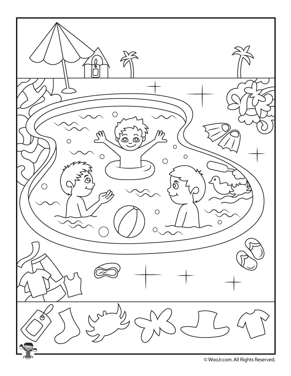 Swimming Pool Summer Hidden Pictures Page Woo Jr Kids Activities