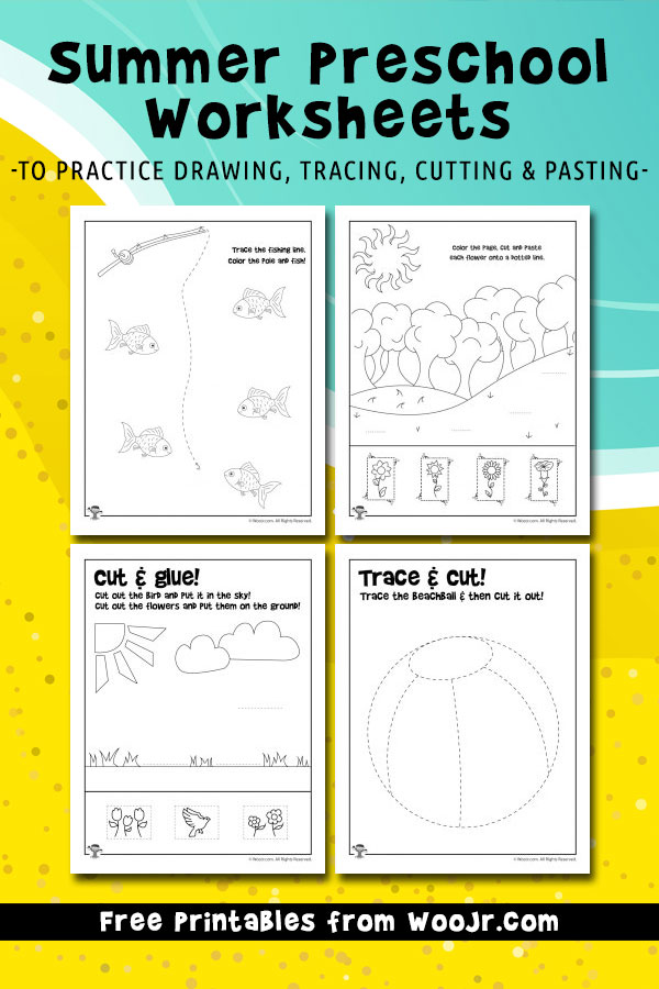 Summer Preschool Worksheets to practice drawing, tracing, cutting & pasting