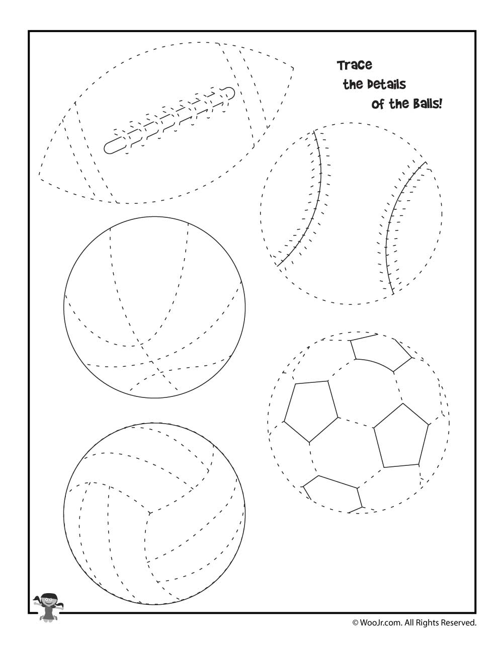 summer sports tracing worksheet woo jr kids activities. Black Bedroom Furniture Sets. Home Design Ideas