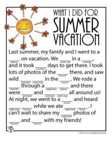 Summer Vacation Printable Ad Lib