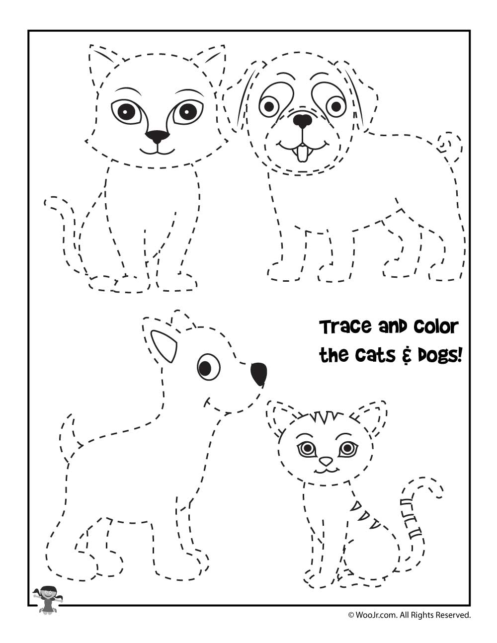 trace and color the animals worksheet woo jr kids activities. Black Bedroom Furniture Sets. Home Design Ideas