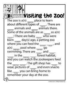 Visiting the Zoo Printable Ad Lib