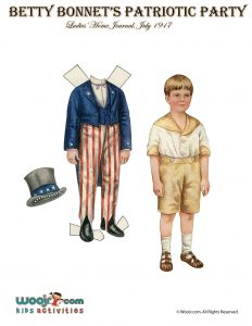 Patriotic 4th of July Boy Vintage Paper Doll