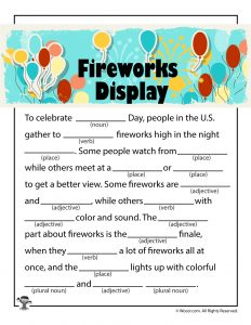 Fireworks Display 4th of July Mad Libs