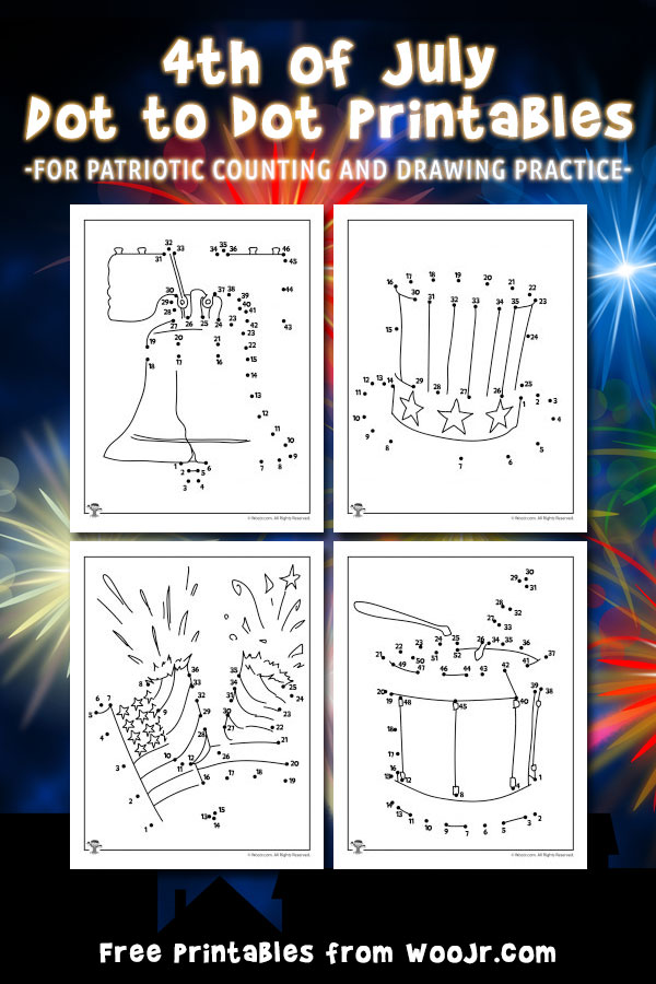 4th of July Dot to Dot Activity Pages
