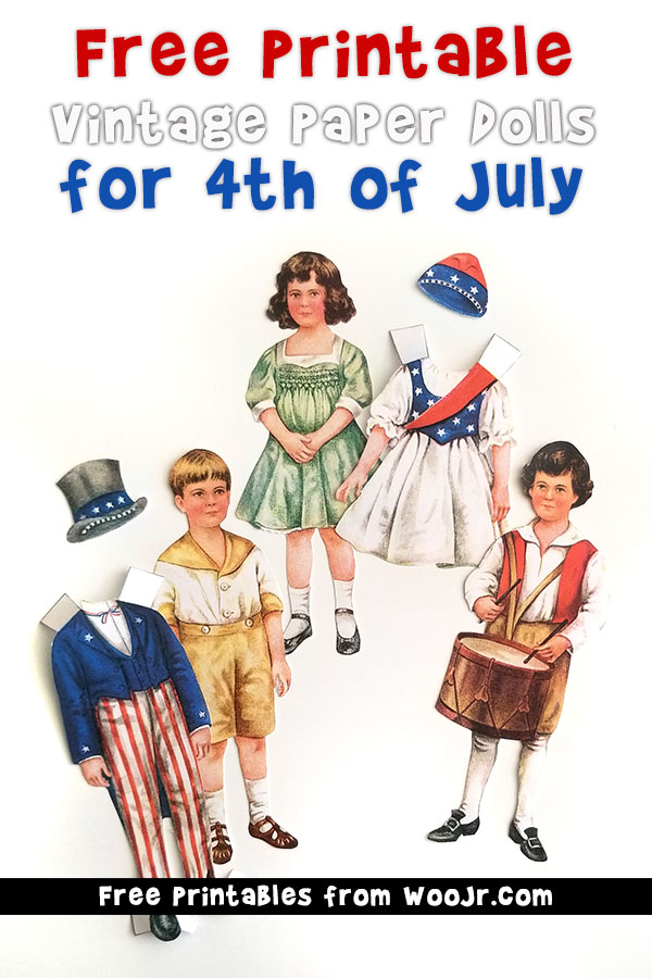 Vintage 4th of July Paper Dolls Free Printable Betty Bonnet