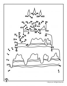 Birthday Cake Dot to Dot Activity Page