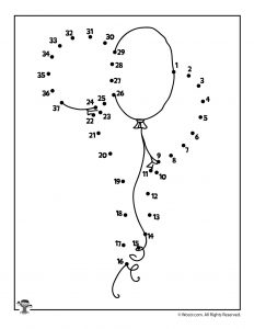 Birthday Balloons Connect the Dot Printable