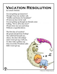Vacation Resolution Summer Break Kids Poem