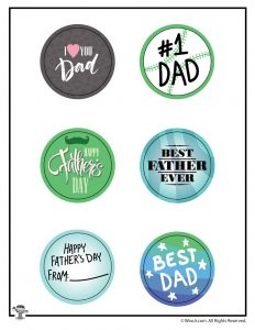 Father's Day Buttons with Cutting Line