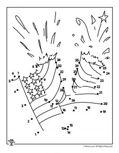 4th of July Firecracker Dot to Dot Activity Worksheet