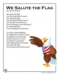 We Salute the Flag Printable Kids Poem