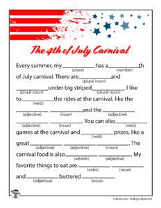 July 4th Carnival Printable Ad Libs