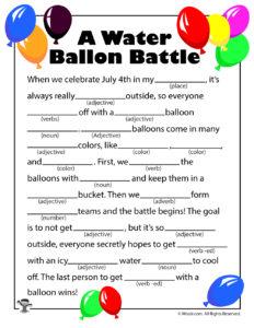 A Water Balloon Battle Printable Ad Lib