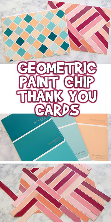 Geometric Paint Chip Thank You Cards