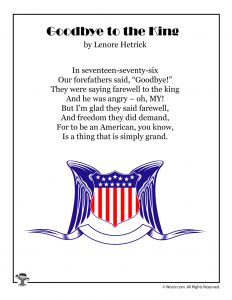 Goodbye to the King 1776 Kids Poem