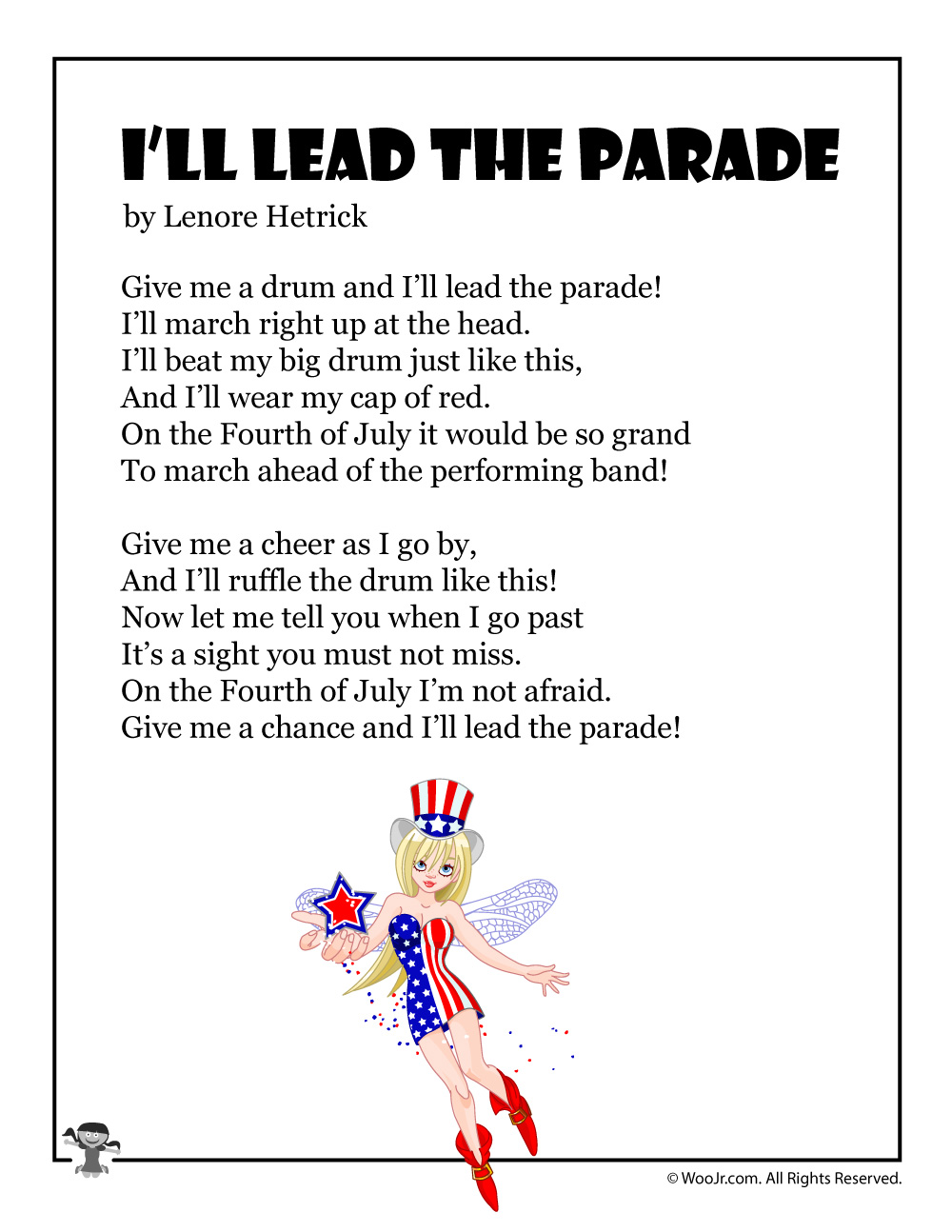 I Ll Lead The Parade Patriotic Printable Poem For Kids