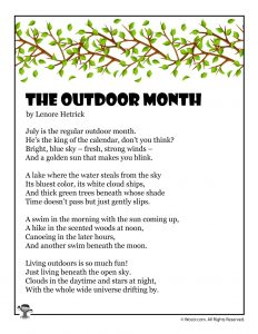 The Outdoor Month Children's Poem About July