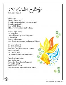 I Like July Poem for Kids Printable