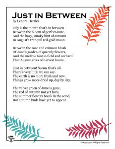 Just In Between July Kids Poem