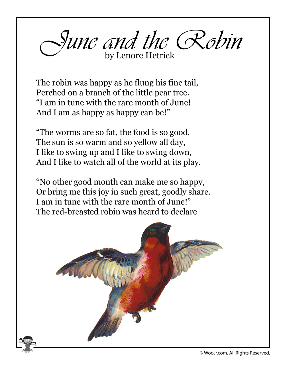 June and the Robin Poem for Kids | Woo! Jr. Kids Activities