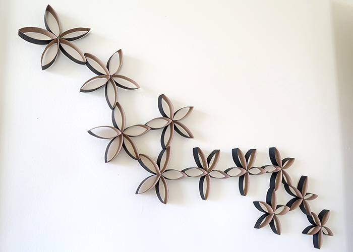 Recycled toilet paper roll flower wall art woo jr kids activities no one could ever guess looking at your wall that this was made from recycled toilet paper or paper towel rolls mightylinksfo