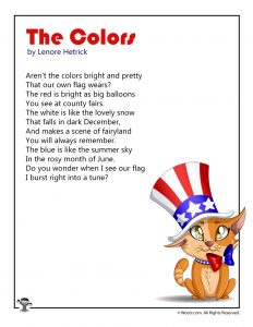 The Colors Red White and Blue Patriotic Poetry