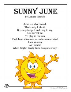 Sunny June Fun Kids Poetry