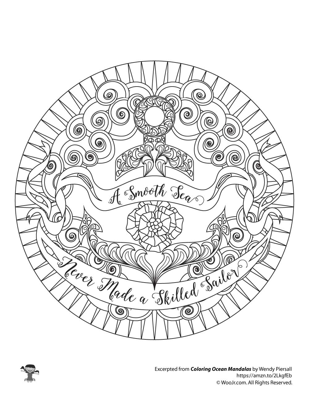 Nautical Anchor Empowering Quote Adult Coloring Page Woo Jr Kids Activities