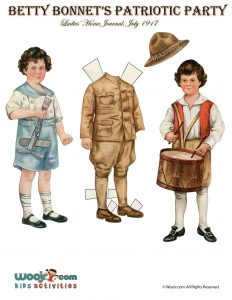 Patriotic Drummer Boy Vintage Paper Doll