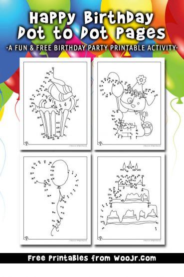 Happy Birthday Dot to Dot Activity Pages Printables