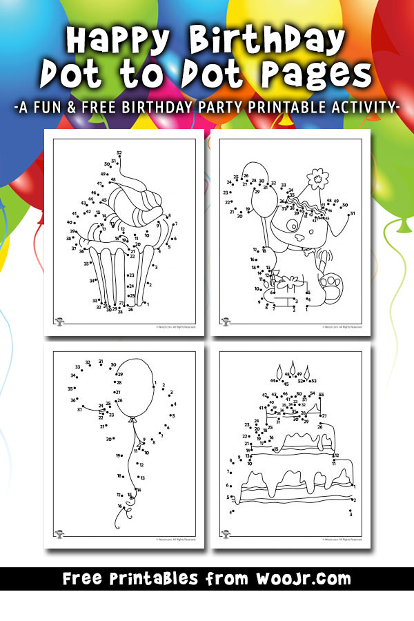 Happy Birthday Dot to Dot Pages - A fun & free birthday party printable activity
