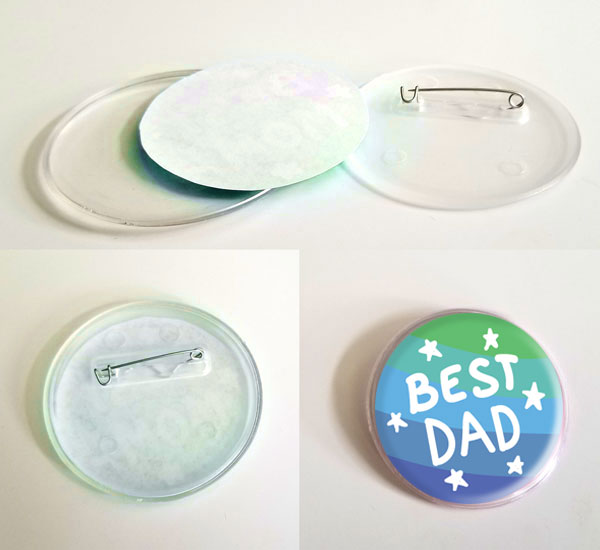 Father's Day printable craft - message buttons