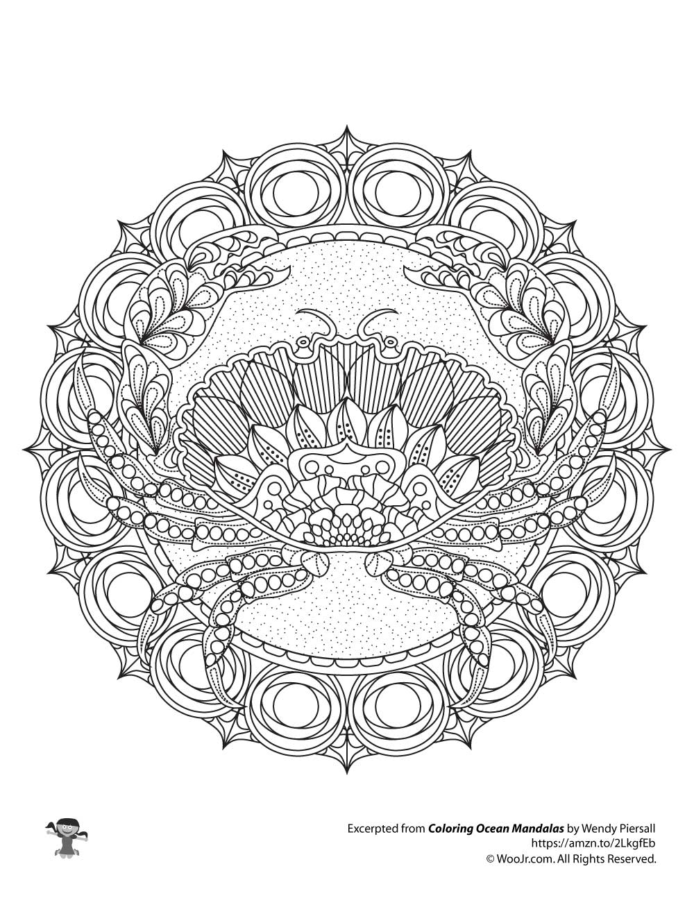 Zentangle Crab Adult Coloring Mandala Woo Jr Kids