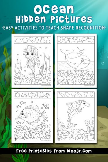 Ocean Hidden Pictures Printables to Teach Shape Recognition