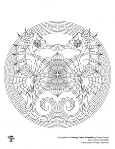 Seahorses Adult Coloring Mandala Printable