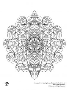 Summer Beach Surfboard Mandala Coloring Page