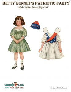 photograph about Printable Vintage Paper Dolls known as Betty Bonnet Patriotic Social gathering 4th of July Paper Dolls Woo