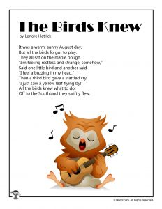 The Birds Knew August Poem to Print