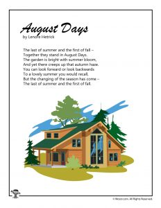 August Days Poem Printable for Kids