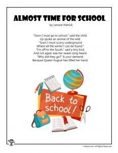 Back to School Poem for Kids