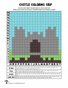 Magical Castle Grid Coloring Page Answer Key