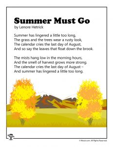 End of Summer August Kids Poem