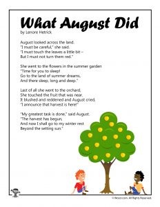 What August Did Printable Kids Poem