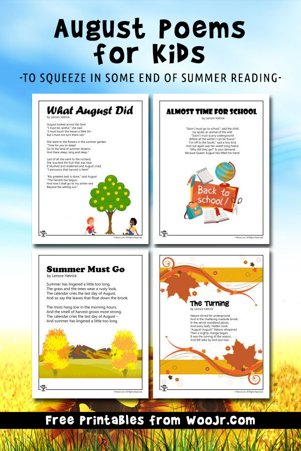 Printable August Poems for Kids