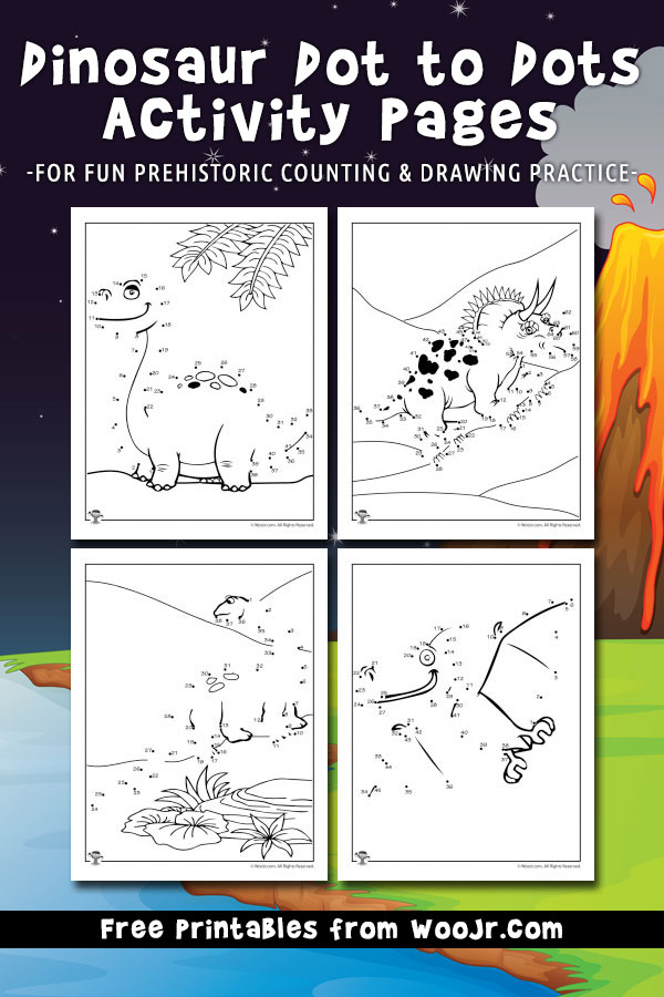 Dinosaur Dot to Dots Activity Pages