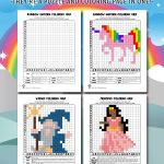 Mystery Picture Grid Coloring Pages – Fantasy & Fairy Tales