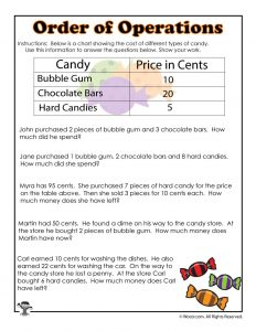 Halloween Order of Operations with Data Worksheet