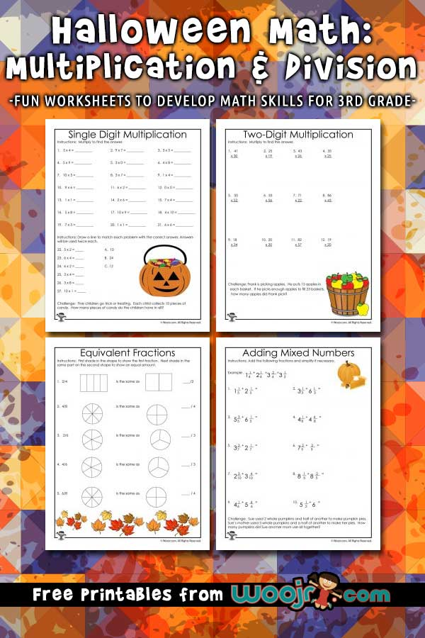 3rd Grade Halloween Math Worksheets: Multiplication and ...